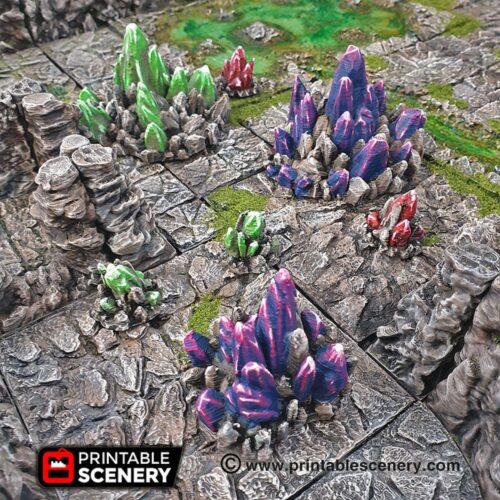 Printable Scenery Crystal Clusters